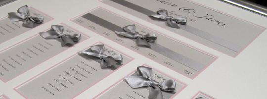 Sumptuous hand tied Satin ribbon bows can be coordinated with the accent colour of the wedding day
