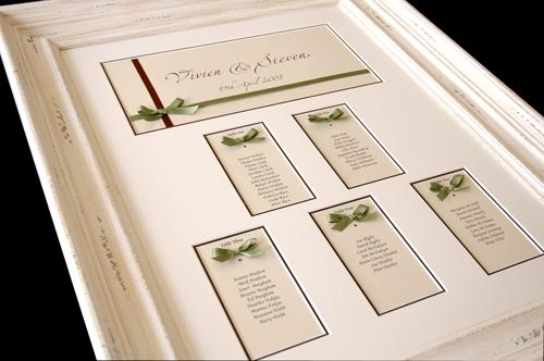 A Guild Bow Multi Aperture Table Plan incorporating the couples green and chocolate wedding colours