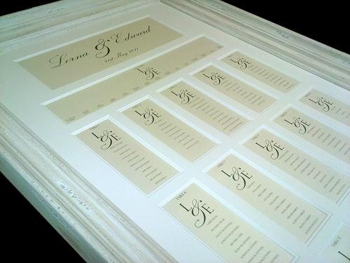 Multi Aperture Wedding Table Plan using the intials of the couple making the table plan truly personal.