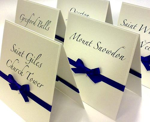 Free Standing Table Name Cards - showing your guests to their table