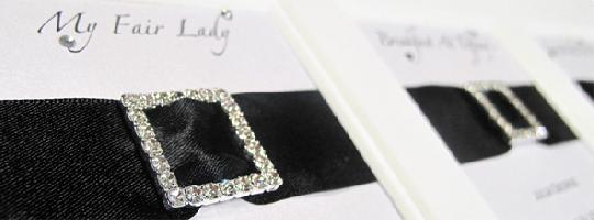 Sparkling diamante buckles are perfect table plan embellishment for a special occasion