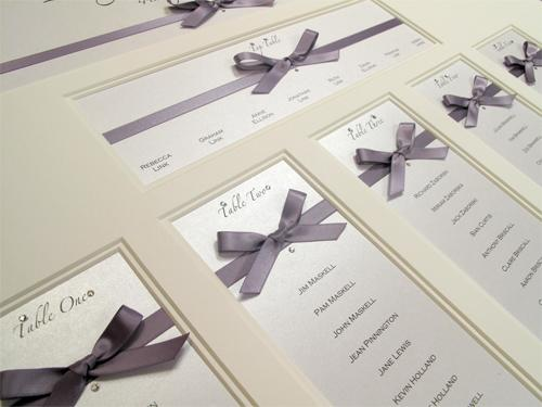Multi aperture table plan with Hand Tied Guild Bow embellishments in sumptuous satin ribbon