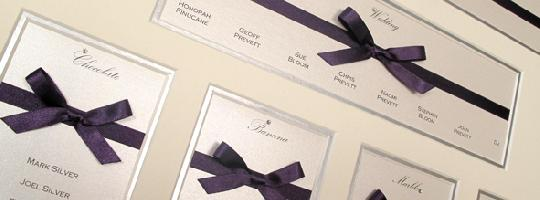 A Guild Bow multi aperture table plan for a couple with liberty purple accents